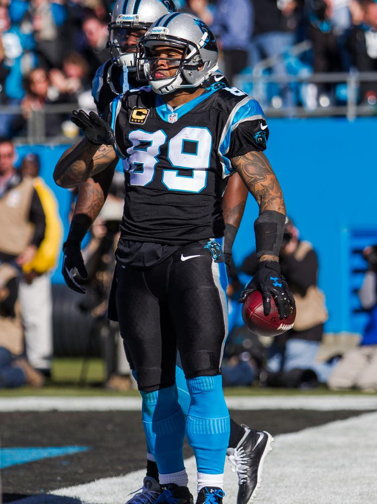 Carolina Panthers wide receiver Steve Smith celebrates his touchdown in the divisional playoff game versus the San Francisco 49ers.