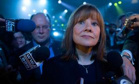 Mary Barra, chief executive officer of General Motors Co. (GM), speaks to the media after the GM 2015 GMC Canyon truck unveiling ahead of the 2014 North American International Auto Show (NAIAS) in Detroit, Michigan, on Sunday, January 12, 2014.