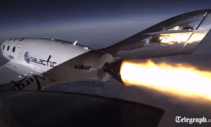 A screen capture of the SpaceShip Two test flight on Friday, take by the Daily Telegraph.