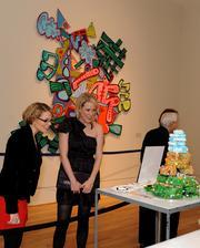 Lindley Thornberg of Heather Freeman Media & PR, center, takes in a display during one of the Phillips Collection's 90th anniversary events.