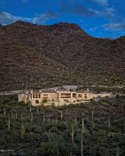 A view of the home, nestled in the mountains of North Scottsdale.