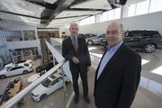 General Manager Al Lemoine, left, and owner Chuck Theisen on the second floor and event space at Mercedes-Benz of Scottsdale.