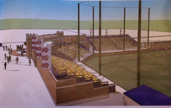A view of the grandstands at Elder High School's planned baseball stadium.