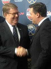 David Ogrean, USA Hockey executive director, left, and Pat LaFontaine, Sabres' president of hockey operations, see more signature events coming to Buffalo.