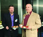 Kevin O'Leary, left, of Warhola Productions and Michael Discello of Pittsburgh Technical Institute.