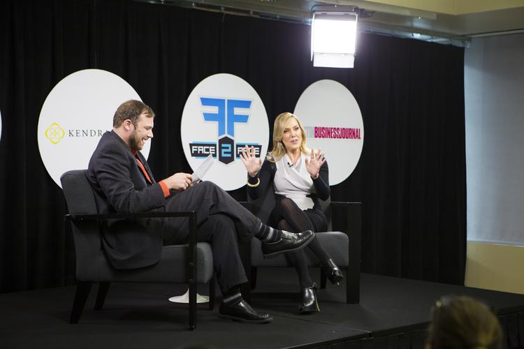 Kendra Scott, right, was the featured guest on Tuesday at Austin Business Journal's Face 2 Face interview event with Editor Colin Pope.