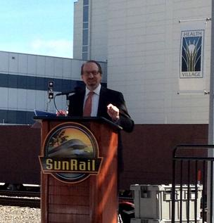 Federal Transit Administrator Peter Rogoff told the crowd of municipal and business officials and the local media that hes pleased to deliver more than $87 million in federal grant funds for continued construction on SunRails 31-mile Phase I.