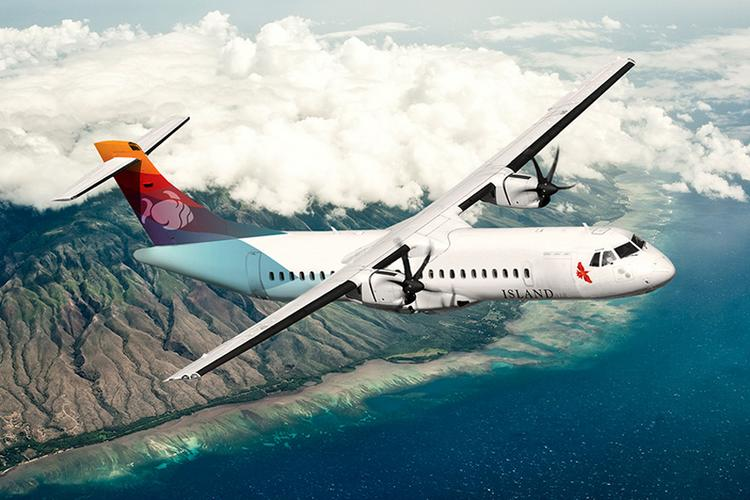 This rendering shows Island Air's new logo, a red iiwi bird, near the nose of the aircraft.