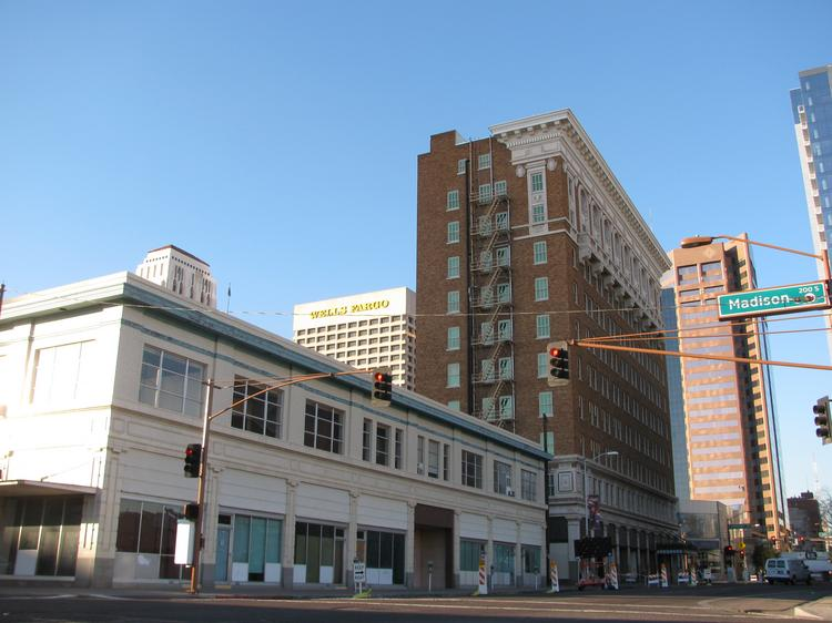 This two-story office building on the Luhrs block of downtown Phoenix will be razed, and a 19-story Marriott will be built.