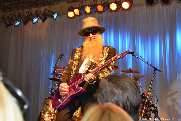 """Billy Gibbons, singer and guitarist for ZZ Top, performs during a show in Palm Beach, Fla., last February. ZZ Top was among the bands mentioned in a request to the Mass. Gaming Commisison on behalf of the Lynn Auditorium to grant the venue """"impacted live entertainment venue"""" status."""
