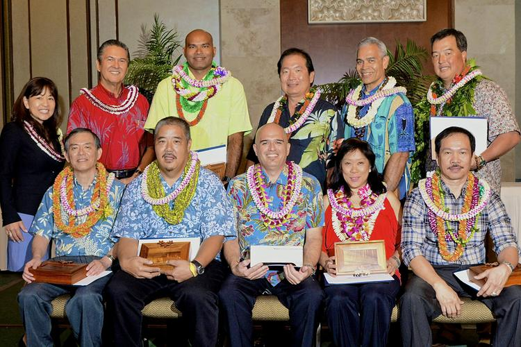 """Top row, from left: Julie Arigo, Waikiki Parc Hotel and HLTA Chairperson; George Szigeti, HLTA President & CEO; Harzali Hashim, Moana Surfrider, A Westin Resort & Spa, Manager of the Year; Douglas Goto, Pacific Guardian Life Insurance Co. Allied Member of the Year; Reginald """"Reggie"""" Ughoc, Sheraton Waikiki, Engineer/Maintenance Person of the Year and Dean Yamaguchi, Trump International Hotel Waikiki Beach Walk, Bell/Valet Person of the Year. Bottom row, from left: Herb Kobayashi, Waikiki Resort Hotel, Front Office Person of the Year; Kirk Togashi, Sheraton Maui Resort & Spa, Security Officer of the Year; Kervin Leval, Sheraton Waikiki, Outstanding Lodging Employee of the Year; Janice Primak, Waikiki Beach Marriott Resort & Spa, Food & Beverage Person of the Year and Infante Llamas, The Royal Hawaiian, A Luxury Collection Resort, Housekeeper of the Year."""