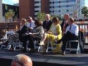 Local officials on hand for the event included, from left, U.S. Sen. Bill Nelson, Orlando Mayor Buddy Dyer, U.S. Rep. Corrine Brown, Seminole County Commissioner Carlton Henley, Florida Department of Transportation District 5 Secretary Noranne Downs, Volusia County Chairman Jason Davis and Florida Hospital CEO Lars Houmann.