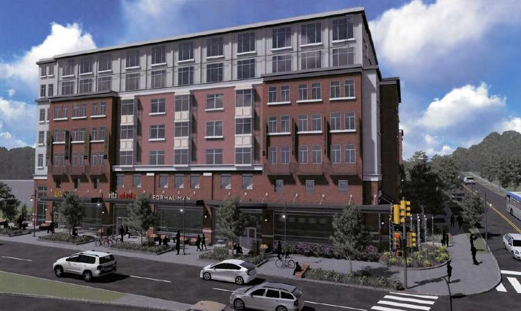 A&R's planned 141-unit residential building a block from the Huntington Metro Station will include 191 parking spaces. A&R has agreed to build 30 more than it originally proposed to win Fairfax County approval.