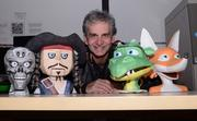 FamiLab member Pat Starace with some of his animatronic paper sculpture puppets.