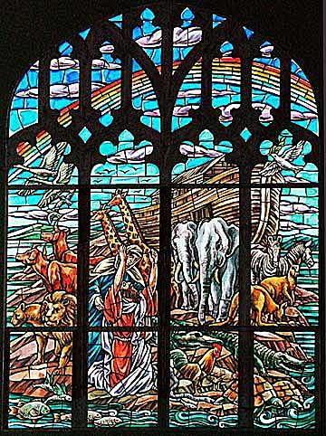 Willet Hauser made this leaded, mouth-blown stained glass ark scene for Central Presbyterian Church in Summit, N.J.