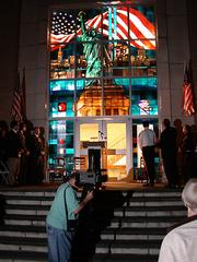 Willet Hauser built this stained-glass installation for the Carlstadt City Hall in New Jersey.