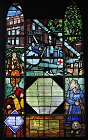 This Willet Hauser stained glass installation at Elmira College in Elmira, N.Y. memorializes a devastating 1972 flood.