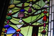 Parts of this stained glass installation at B'nai Jacob Synagogue in Charleston, W.Va., extend four inches from the plane of the glass.