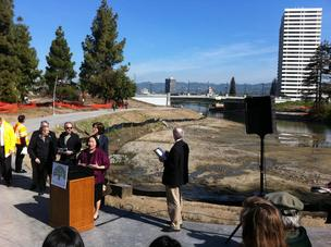 Oakland Mayor Jean Quan speaks at the ceremony to open Lake Merritt estuary.