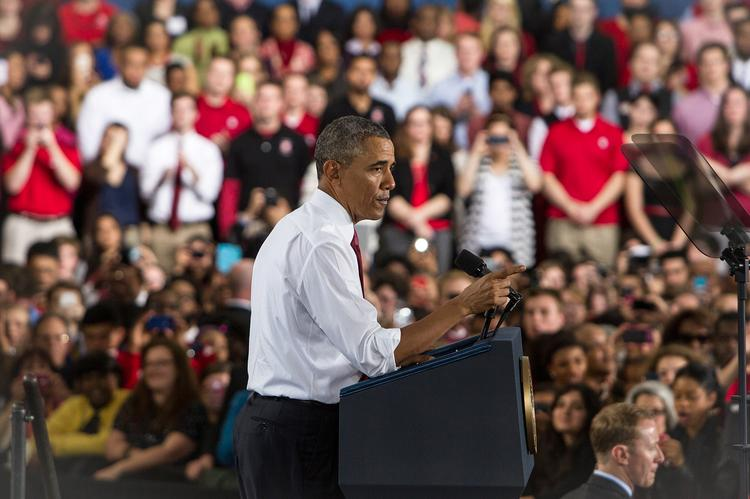 President Obama speaks to the crowd at North Carolina State University on the topic of jobs, opportunity and building a stronger middle class on Jan. 15.