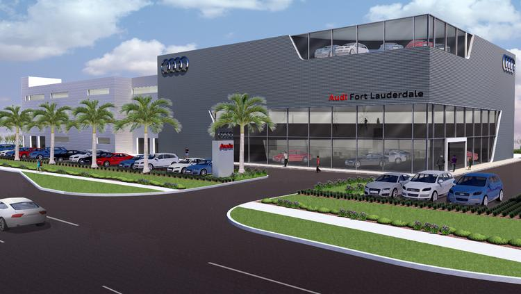 Artist sketch of new Audi dealership planned in Fort Lauderdale near Sunrise Boulevard and North Federal Highway.