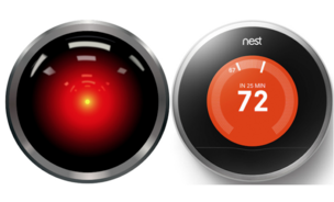 An uncanny resemblance between the mischievous Hal from Space Odyssey, and the Nest Thermostat.