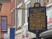 A Pennsylvania Historical and Museum Commission marker commemorating the life of Octavius V. Catto (1839-71), a civil rights organizer. The marker is on the 800 block of South Street in Philadelphia.