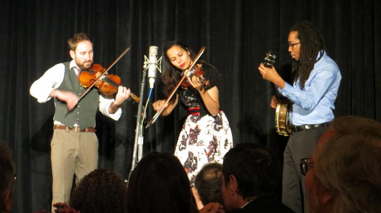 Rhiannon Giddens of the Carolina Chocolate Drops and a couple Punch Brothers performed a short foot-stomping set at the 2013 LAFCA Awards.