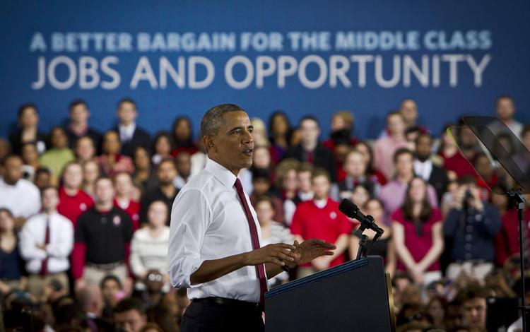 President Obama speaks to the crowd about the new institute coming to Raleigh.