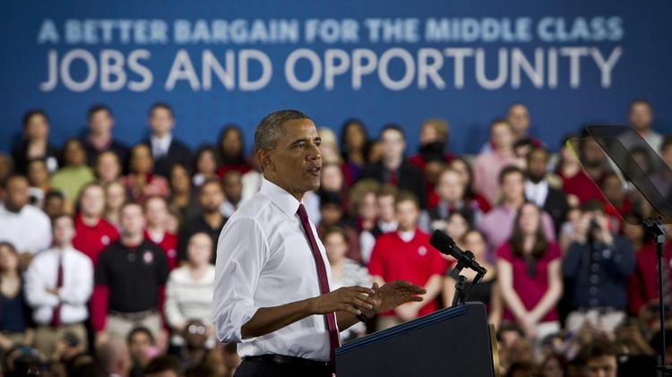 President Obama speaks to the crowd about innovation, economy, jobs and opportunity at NC State on Jan. 15.
