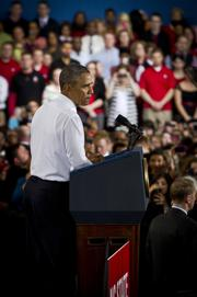 President Barack Obama speaks to the crowd about innovation, jobs and the economy at N.C. State University in Raleigh on Jan. 15.
