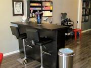 The Color Bar includes two bar stools where clients can sit while their color treatment is processing and actually enjoy bar service for coffee, hot tea or sodas.