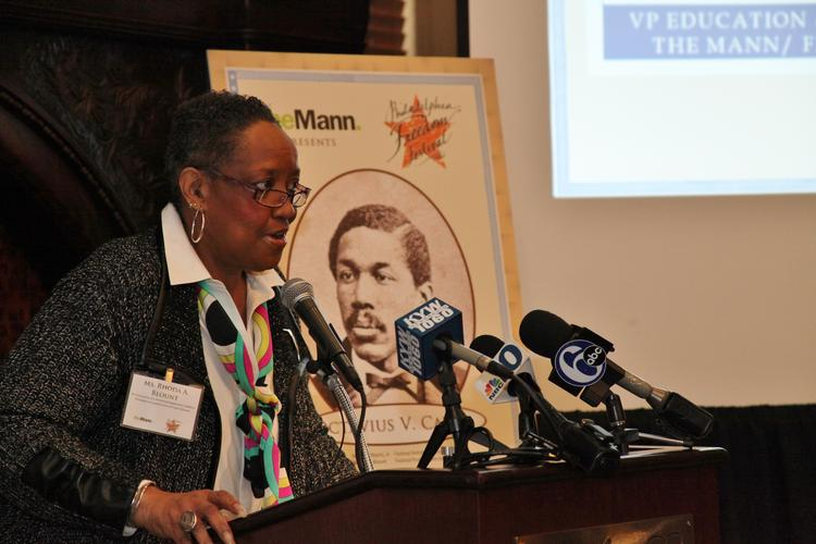 The Mann's Rhoda Blount, project director for the Philadelphia Freedom Festival, at   a press conference Wednesday at the Union League.