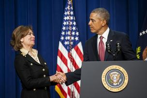 President Barack Obama announces his nomination of Maria Contreras-Sweet, the founder of a Latino-owned community bank in Los Angeles and a former California cabinet secretary, to be head of the Small Business Administration at the White House Wednesday.