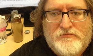 Gabe Newell, the founder of Valve Software, poses in front of the Reddit conversation to prove it is indeed him typing.