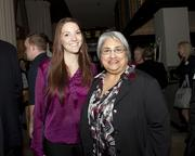 Julia Black and Yvonne Soto of Developmental Disabilities Service Organization pose at the Book of Lists party.