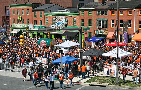 Downtown takes on a carnival atmosphere as Baltimore psyches up for the Orioles opener.