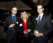 Dominick Carlson of River City Bank, Elizabeth Luke and Brian Hoblit of River City Bank pose at the Book of Lists party.