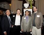 Tim Ching, regional president of North Valley Bank, John Whitfield of Moss Adams LLP, Mike Rizzo, senior vice president of commercial banking of Five Star Bank and Business Journal banking and tech reporter Mark Anderson pose at the Book of Lists party.