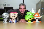 FamiLab member Pat Starace with some of his animatronic paper sculpture puppets