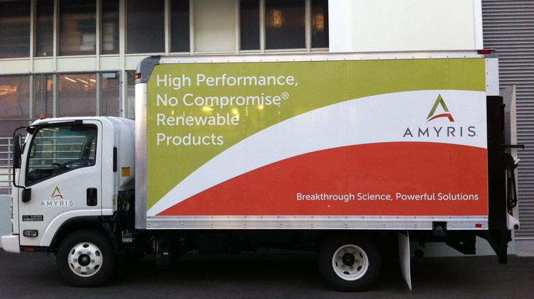 A truck parked at the Emeryville headquarters of Amyris.