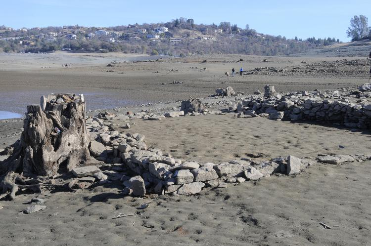 Prolonged drought has dramatically lowered the water level at Folsom Lake.