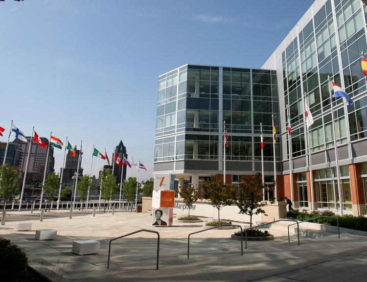 ManpowerGroup's Milwaukee headquarters. The global staffing company is laying off members of its IT staff after outsourcing the work.