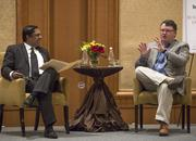 TBJ Editor Sougata Mukherjee interviews Scot Wingo, CEO of ChannelAdvisor, during a breakfast Q&A session at The Umstead Hotel and Spa in Cary on Jan. 16.