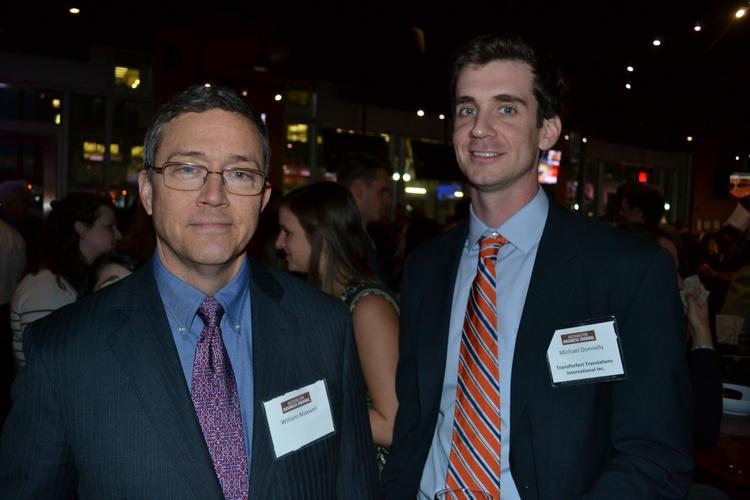 The Washington Business Journal hosted a BizMixer at World of Beer in Ballston for folks to network and try some micro brews. William Maxwell, left, and Michael Donnelly of TransPerfect Translations International Inc.