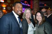 From left, James Bowier of K Force, with Terry Monaghan of Time Triage and Carmen Coker enjoyed happy hour at Washington Business Journal's BizMixer in Ballston.