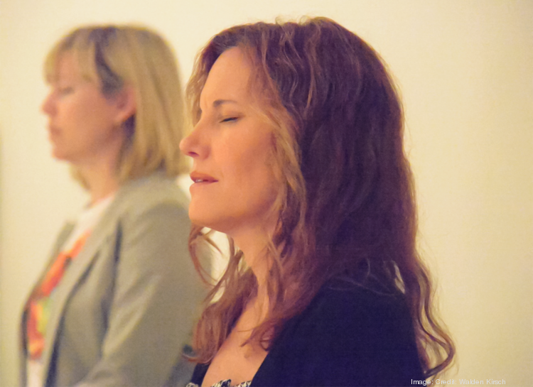 Intel meditation instructors Lindsay van Driel, left, and Anakha Coman.