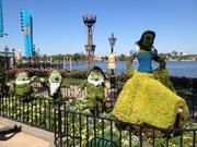 A Snow White and the Seven Dwarfs topiary lead the way to the Bauernmarkt: Farmer's Market near the Germany pavilion, where you can feast on savory bread pudding, sip on Brut champagne with elderflower and mint and check out the featured mustard, potato and elderberry plantings.