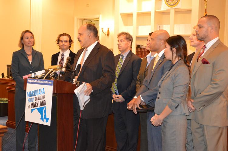 Del. Curt Anderson (D-Baltimore City), surrounded by state legislators and other members of the Marijuana Policy Coalition of Maryland, introduces a bill to regulate and tax marijuana like alcohol.