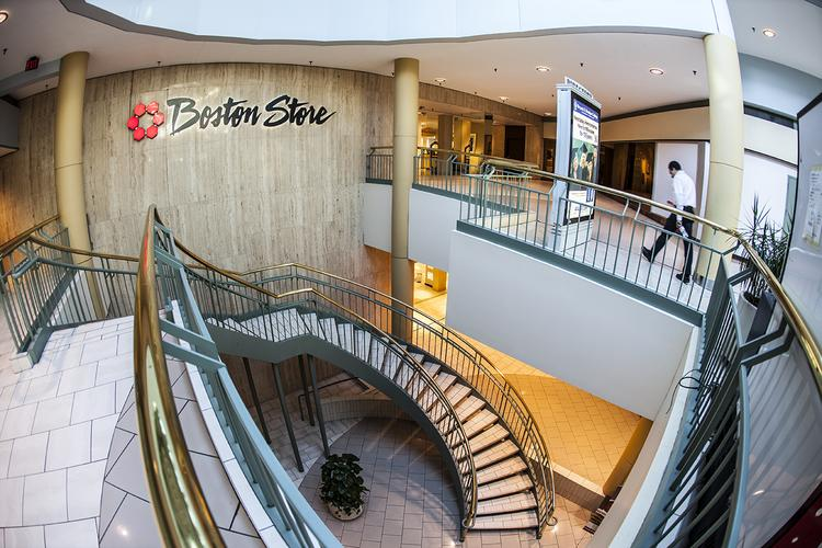 Boston Store is adjacent to The Shops of Grand Avenue in downtown Milwaukee. Owner The Bon-Ton Stores Inc. has its corporate headquarters above.